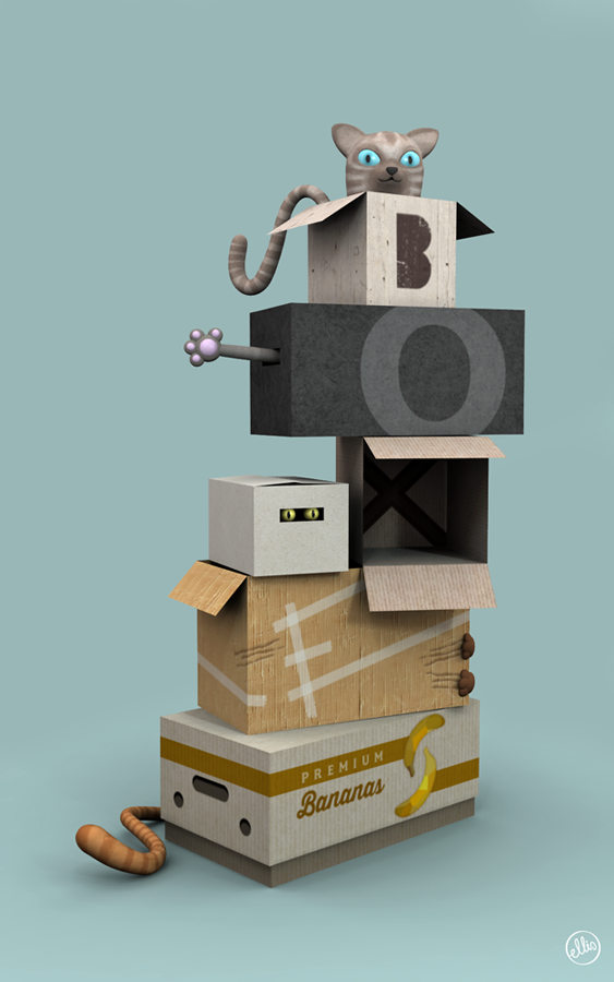 Cats & Boxes. Personal work / Software: Maya